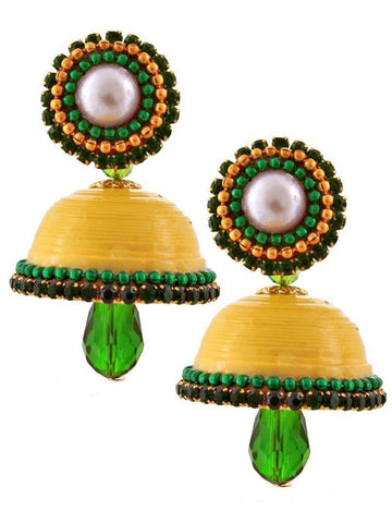 Halowishes Hancrafted Single Stud Yellow Jhumka