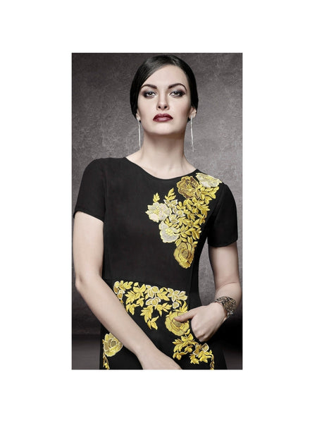 Designer A line Dress In Black Kurti Dress