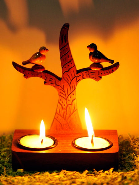 Tree Of Life Wall Cum Table Tealight With Parrots