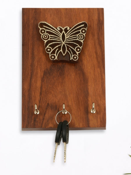Sheesham Wood Butterfly Block Key Holder