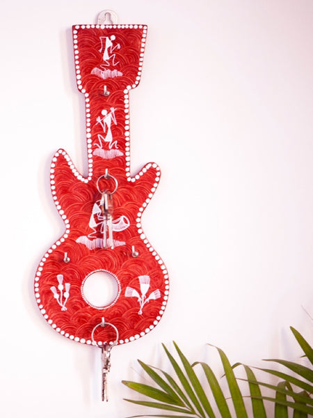 Guitar Shaped Warli Handpainted Key Holder