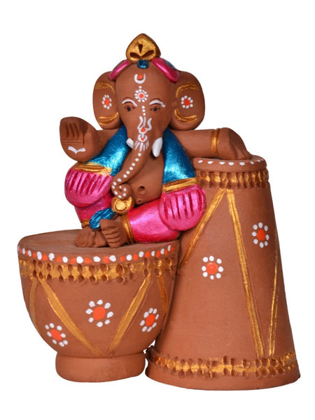 Terracotta Hand painted Tabla Sitting Ganesha