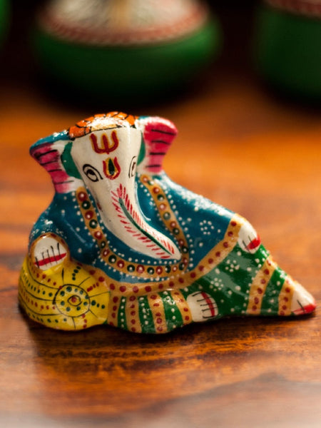 Meenakari Lord Ganesha Hand enamelled In Metal
