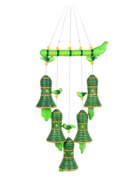 Terracotta Handpainted Bird Hanging With Bells
