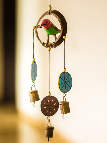 """Bird Collection"" Wooden Hand Painted Hanging Chime With Bell"
