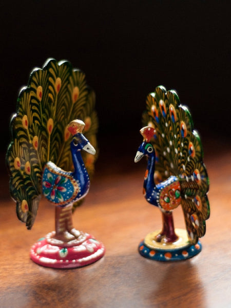 Meenakari Dancing Peacock Set Hand enamelled In Metal