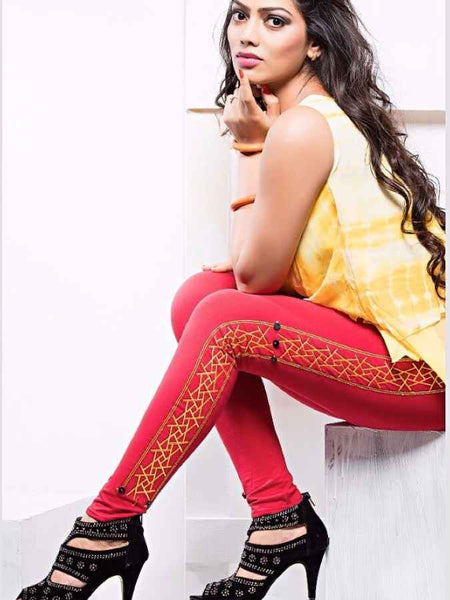 Red Cotton Lycra Leggings - PurpleTulsi.com  - 1