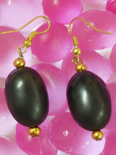 Golden and Black Earrings - PurpleTulsi.com