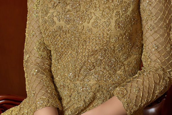 Beautiful Golden Net Embroidered Anarkali Suit