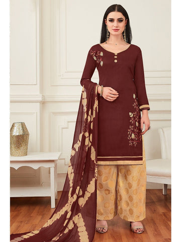 Designer Brown Color Cotton Embroidered Patiala Suit