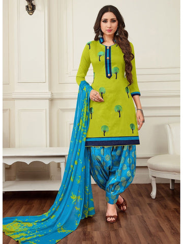 Designer Green Color Cotton Embroidered Patiala Suit