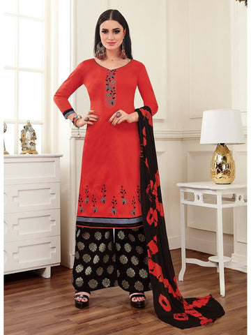 Designer Red Color Cotton Embroidered Patiala Suit