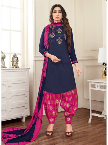 Designer Navy Blue Color Cotton Embroidered Patiala Suit