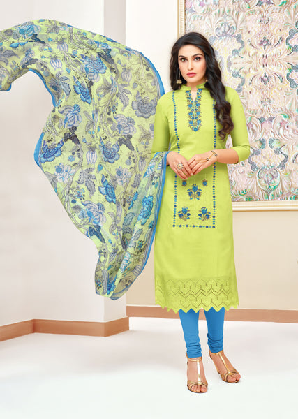Parrot Green Modal Silk Embroidered Straight Cut Suit