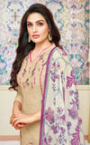 Beige Modal Silk Embroidered Straight Cut Suit