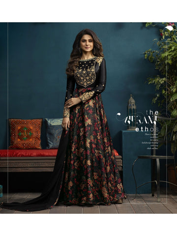 Designer Black Color Satin Silk Digital Printed Embroidered Gown with Dupatta
