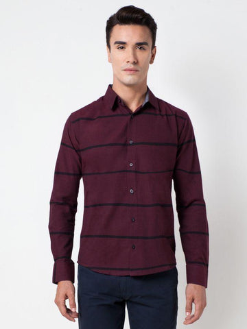 Horozontal Stripe Formal Shirt
