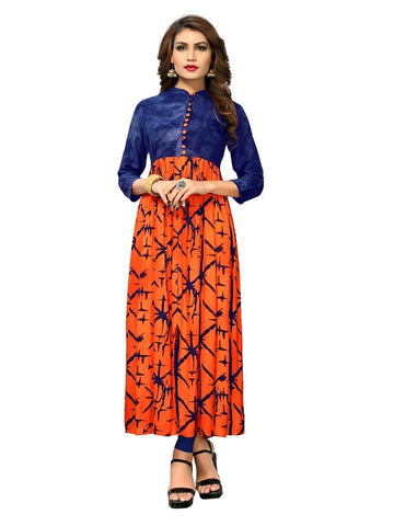 Designer Orange and Blue Color Rayon Printed Straight Cut Kurti