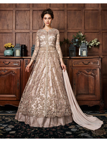 Designer and Beautiful Cream Color Anarkali Suits