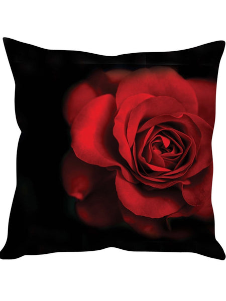 Black with Red Rose Designer Cushion Cover