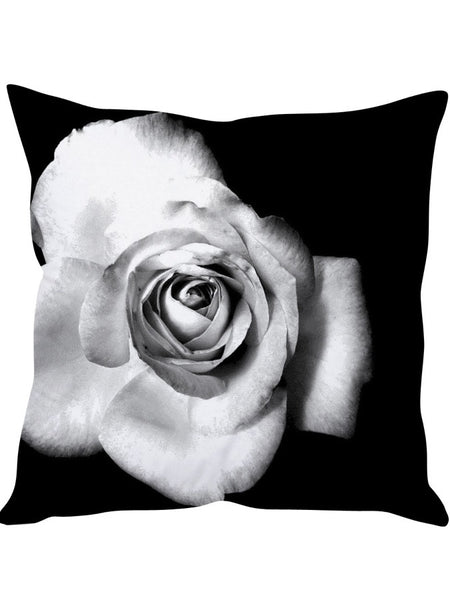 Pack of 5 White Rose Designer Cushion Covers