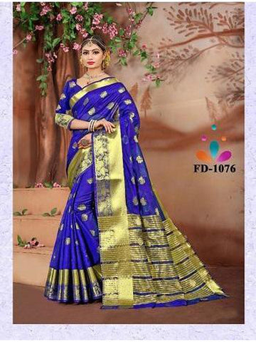Designer Cotton Silk Royal Blue Color Festive Wear Saree