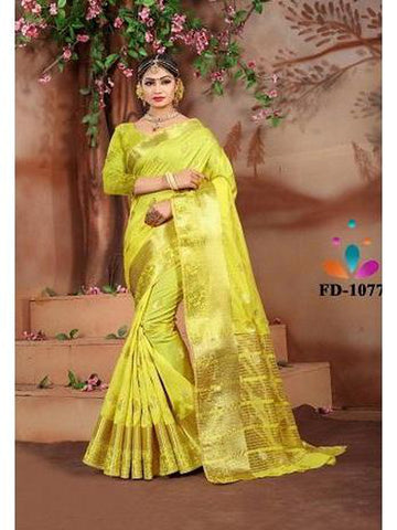 Designer Cotton Silk Royal Yellow Color Festive Wear Saree