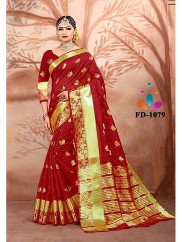 Designer Cotton Silk Royal Red Color Festive Wear Saree