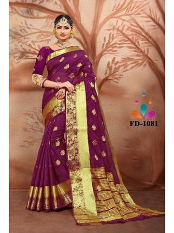 Designer Cotton Silk Royal Maroon Color Festive Wear Saree