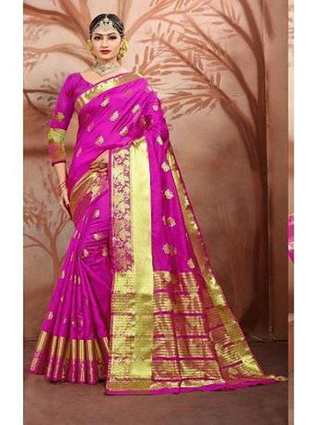 Designer Cotton Silk Royal Purple Color Festive Wear Saree