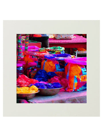 Let's Paly Holi Mounted Digital Art Print