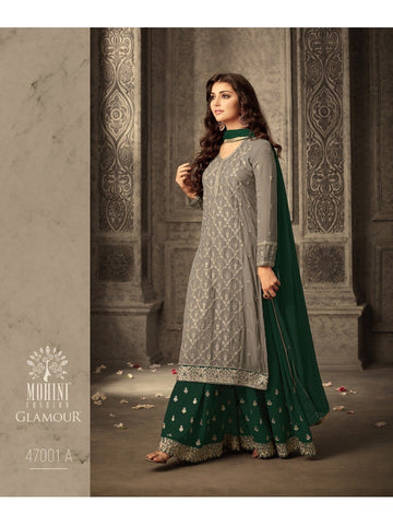 Designer Heavy Embroidered Georgette Premium Suit with Dark Green Color Sharara