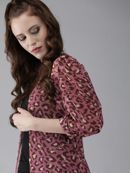 Pink Printed Open Front Longline Polyester Shrug