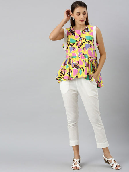 Multicolored Cotton Blend Printed Top