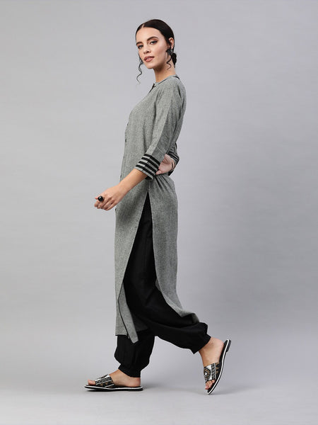 Grey Solid Chambray Cotton Straight Cut Kurti