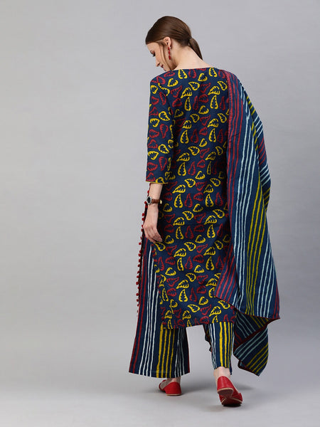 Multicolor Pure Cotton Printed Straight Cut Suit