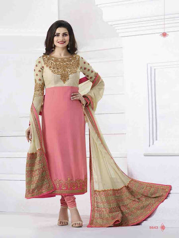 Prachi Desai Designer Pink Color Embroidered Straight Cut Suit With Banarasi Dupatta