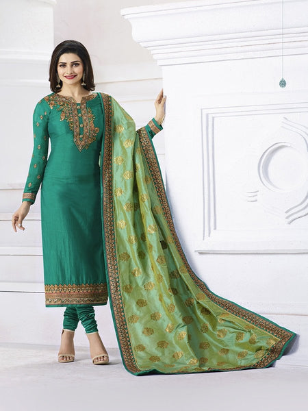 Prachi Desai Designer Green Color Embroidered Straight Cut Suit With Banarasi Dupatta