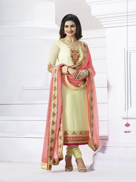 Prachi Desai Designer Cream Color Embroidered Long Straight Cut Suit With Banarasi Dupatta