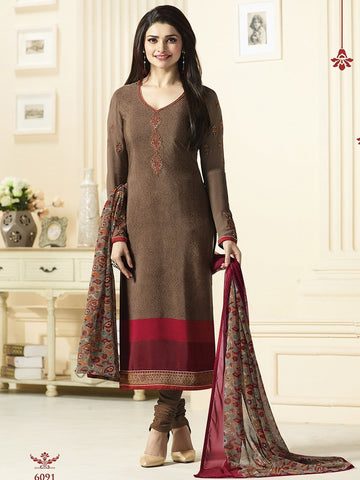 Brown Embroidered Designer Straight Salwar Suit