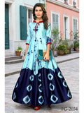 Designer Multi Color Sibori Print Long Anarkali Kurti Cum Gown