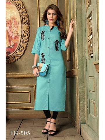 Designer Sky Blue Color Khadi Cotton Long Straight Cut Kurti