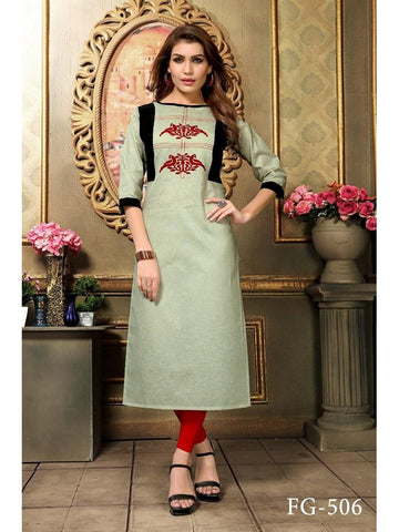 Designer Multi Color Khadi Cotton Long Straight Cut Kurti
