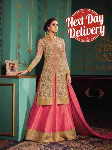 Designer Partywear beige Color Embroidered Straight Suit