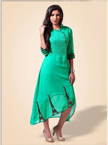 Beautiful  Light Green Color Georgette Embroidered Kurtis