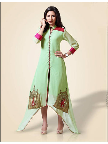 Beautiful  Paper Green Color Georgette Embroidered Kurtis