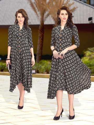 Beautiful Printed Black  Cream Color Rayon Kurtis