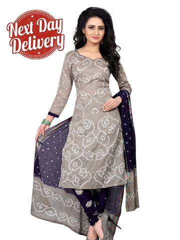 Designer Partywear Grey Color Bandhej Sation Cotton Suit