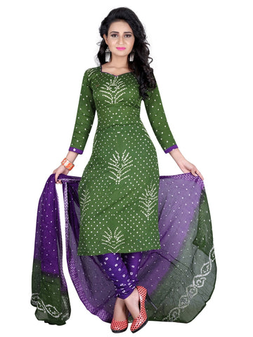 Designer Partywear Green Color Bandhej Satin Cotton Suit