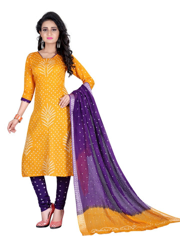 Designer Partywear Yellow Color Bandhej Satin Cotton Suit
